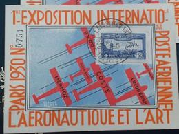 France Poste Aérienne N° 6c  Perforé EIPAZO Sur Carte De L'éxpostion Une Dent Plié Ou Recolé - 1927-1959 Brieven & Documenten