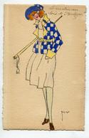 """ILLUSTRATEUR M.V DESSIN ORIGINAL Aquarelle Elegante Jeune Femme Mode  """" Le Matin Au Bois De Boulogne """" 1920  / D19 2021 - Other Illustrators"""