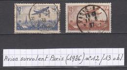 France Avion Survolant Paris (1936) Y/T Poste Aérienne N° 112/13 Oblitérés à 10% De La Cote - 1927-1959 Afgestempeld