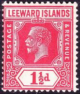 LEEWARD ISLANDS 1926 KGV 1½d Carmine-Red Die II SG63 MH - Leeward  Islands