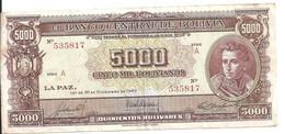 BOLIVIE 5000 BOLIVIANOS L.1945 VF+ P 145 - Bolivia