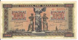 GRECE 5000 DRACHMAI 1942 XF+ P 119 - Grecia