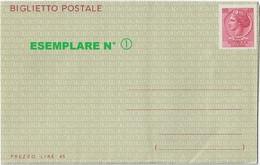 """BIGLIETTO POSTALE TIPO SIRACUSANA L. 40 - 1966 - CATALOGO FILAGRANO """"B47"""" - NUOVO ** - Interi Postali"""