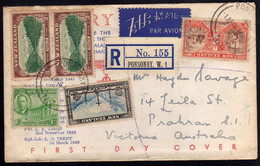 NEW ZEALAND NUOVA ZELANDA 1 4 1946  RETURN TO PEACE AT THE CLOSE WORLD WAR II FDC COVER REGISTERED LETTER LETTERA LETTRE - Covers & Documents