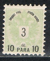 Levante Austriaco 1883, Sobrecarga 10 Para Sobre 3 S. Tipo I.  Yvert Num 14 * - Eastern Austria