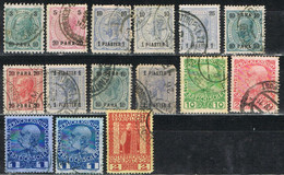 Lote 15 Sellos, Levante Austriaco 1888-1908, Varias Emisiones.  º - Eastern Austria