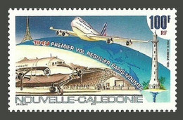 NEW CALEDONIA 1999 AIRCRAFT FIRST FLIGHT LIGHTHOUSE EIFFEL TOWER SET MNH - Unused Stamps