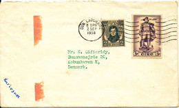 Ireland Cover Sent To Denmark Dun Laoghaire 2-9-1958 (one Of The Stamps Damaged) - Covers & Documents