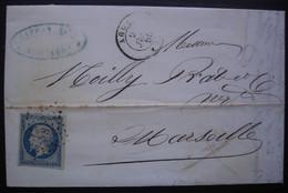 Agde Laffon Fils 1855 Pc 8 Sur N°14, Lettre Pour Noilly Prat à Marseille - 1849-1876: Periodo Clásico