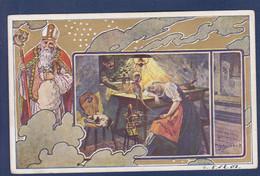 CPA Saint Nicolas Père Noël Santa Claus Nicolo Art Nouveau Circulé Chat Cat - San Nicolás
