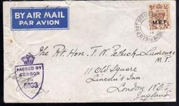 OCCUPAZIONE BRITANNICA MEF 22 9 1944 M.E.F. 5p BY AIR MAIL VIA AEREA LETTERA COVER CON CENSURA MILITARE INGLESE - Occup. Britannica MEF