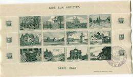 """FRANCE BLOC DE 12 VIGNETTES """" AIDE AUX ARTISTES PARIS 1942 """" 1VEC OBLITERATION ILLUSTREE DU 23 NOV 41 - Blocs & Carnets"""