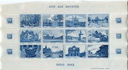 """FRANCE BLOC DE 12 VIGNETTES """" AIDE AUX ARTISTES PARIS 1942 """" - Blocs & Carnets"""