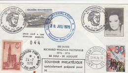 Brief Musik Richard Wagner Bayreuther Festspiel 1976 100 Jahre Wagner Festspiele Mit MS Nederland Rotterdam Basel - Musik