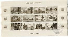 """FRANCE BLOC DE 12 VIGNETTES """" AIDE AUX ARTISTES PARIS 1942 """" AVEC OBLITERATION ILLUSTREE DU 23 NOV 41 - Blocs & Carnets"""