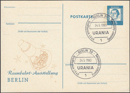 BRD, Berlin, Ganzsache 15 Pf Luther, Raumfahrt Austellung, Mi.Nr. 351, Gebraucht 1963 - Postkarten - Gebraucht