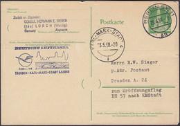 BRD, Ganzsache, 10 Pf, Gedächtniskirche, Lufthansa, Berlin- Karl Marx Stadt, Gelaufen 1958 - Postkarten - Gebraucht