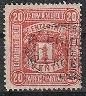 Argenta. 1881. Marca Municipale (marca Comunale) Diritti Di Segreteria C. 20 Rosa. RARA. - Autres
