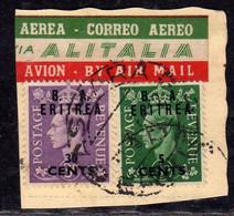 OCCUPAZIONI STRANIERE ERITREA 1950 B. A. CENT 5c SU 1/2p + 30c SU 3p  BA USATO USED OBLITERE' - Eritrea
