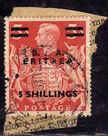 OCCUPAZIONI STRANIERE ERITREA 1950 B. A. 5sh SU 5s BA USATO USED OBLITERE' - Eritrea
