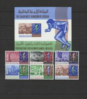 Jordan 1967 Olympic Games Mexico Set Of 6 + S/s MNH - Estate 1968: Messico