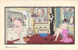 Superbe Illustration De Xavier Sager De 2 Jeunes Femmes Nues Dans La Salle De Bains Pour Les Préparatifs Du Bain - Sager, Xavier