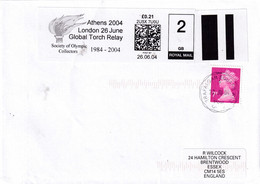 United Kingdom UK 2004 Cover; Olympic Games Athens Torch Relay London Stage; Smart Stamp 2nd Class Uprated To 1st Class - Zomer 2004: Athene