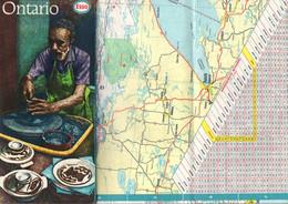 Carte Esso Canada Ontario - Format : 21x10 Cm Pliée En Plusieurs Parties - Carte Stradali
