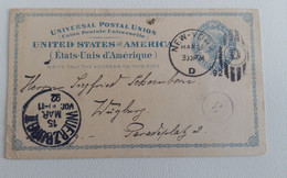 1892 POSTAL STATIONERY C.2 NEW YORK-WUERZBURG GERMANY+4 Cancels-O902 - Event Covers