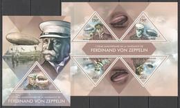 TG705 2013 TOGO TOGOLAISE TRANSPORT AVIATION FERDINAND VON ZEPPELIN DIRIGIBLES KB+BL MNH - Zeppelin