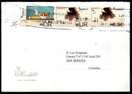CA194- COVERAUCTION!!! - ATM STAMPS - SPAIN TO BOGOTA, COLOMBIA - TRANSPORTS / FRUITS - 2001-10 Storia Postale