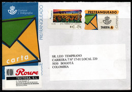 CA195- COVERAUCTION!!! - ATM STAMPS - SPAIN TO BOGOTA, COLOMBIA - FLOWERS - 2001-10 Storia Postale