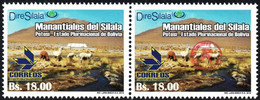 """Bolivia 2018 ** CEFIBOL 2311a (2016 #2290) Silala Springs. Pair With And Without Enabled """"Bolivian Post Office"""". - Bolivia"""