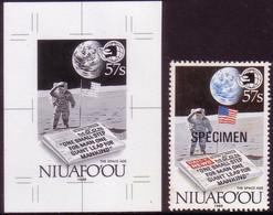 Tonga Niuafo'ou 1989 Proof In Black & White + Specimen - Apollo - First Man On Moon - Oceania