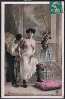 L041 RISQUE EROTIC COUPLE FEMME SEINS NUS TOPLESS LADY PHOTO D'ART - Couples