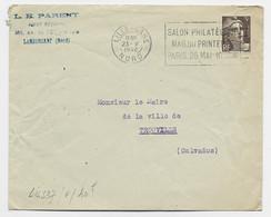 GANDON 3FR BRUN LETTRE FLEIR SALON PHILATELIQUE MAG DU PRINTEMPS LILLE GARE 23.V.1946 NORD COTE 40€ - 1945-54 Marianne Of Gandon