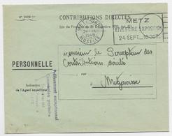 FRANCE LETTRE FRANCHISE FLIER METZ XIVE FOIRE EXPOSITION METZ GARE 26.IX.1949 MOSELLE - Mechanical Postmarks (Advertisement)
