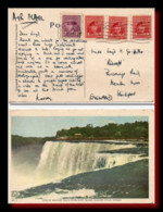 1947 Canada Air Mail Postcard Niagara Falls Posted To GB - Postal History