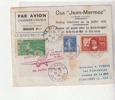 """Lettre """"Par Avion Caudron-Luciole Piloté Par L'aviateur Minot"""", Meeting Aviation 1938 - Covers & Documents"""