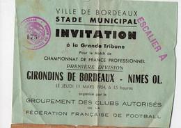Bordeaux (.33 Gironde) Invitation 1954 Match De Foot GIRONDINS-NIMES  (PPP32318) - Altri