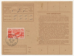 Carte D'abonnement Aux Timbres-poste Spéciaux Français, Affr 500F P.A Marseille, Obl Colmar R.P 10/12/1952 - 1927-1959 Brieven & Documenten