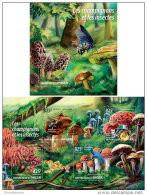 NIGER 2015 ** M/S + S/S Mushrooms Butterflies Pilze Schmetterlinge Champignons Papillons - Official Issue A1517 - Mushrooms