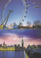 Spaceships UFO At Houses Of Parliament London Eye 2x Postcard S - Non Classificati
