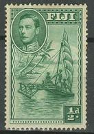 Fiji 1938 SG249a ½d Native Sailing Canoe KGVI Perforation 14 ☀ MH* - Fiji (...-1970)