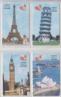 ISRAEL SYDNEY OPERA HOUSE LONDON BIG BEN PARIS EIFFEL TOWER PISA SET OF 4 CARDS - Landscapes