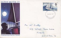 Great Britain Ersttags Brief FDC Cover 1967 GIPSY MOTH IV Round The World Sailing By Francis Chichester Sent To BRISTOL - 1952-1971 Dezimalausgaben (Vorläufer)