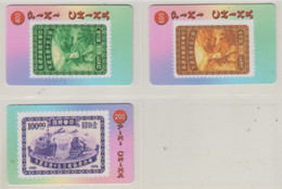 CHINA STAMPS ON PHONE CARDS SET OF 3 CARDS - Francobolli & Monete
