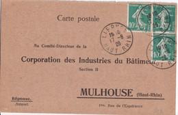 1926 - SEMEUSE - HAUT-RHIN - CP REPONSE BILINGUE Des BLESSES Des INDUSTRIES Du BATIMENT De LIEPVRE => MULHOUSE - Alsace Lorraine