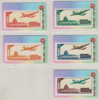CHINA AVIATION PLANE STAMPS ON PHONE CARDS SET OF 5 CARDS - Francobolli & Monete