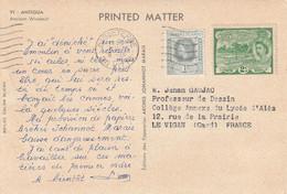 Carte Publicité Papier ARCHES VI Antigua Cachet Basse Terre Leeward Islands 1956 à Prof Dessin Le Vigan Gard - Leeward  Islands